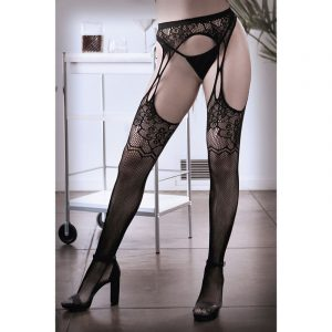 SHEER FANTASY WHAT IF Floral Net Garter Stockings