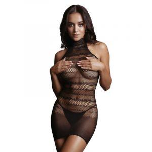 LE DESIR High Lace Neck Net Mini Dress
