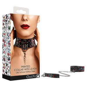 OUCH! Printed Collar With Leash - Old Sc